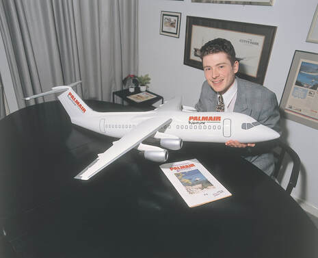 Pictured: Neil Allen designed the livery for the new Palmair BAE 146 Whisper Jet